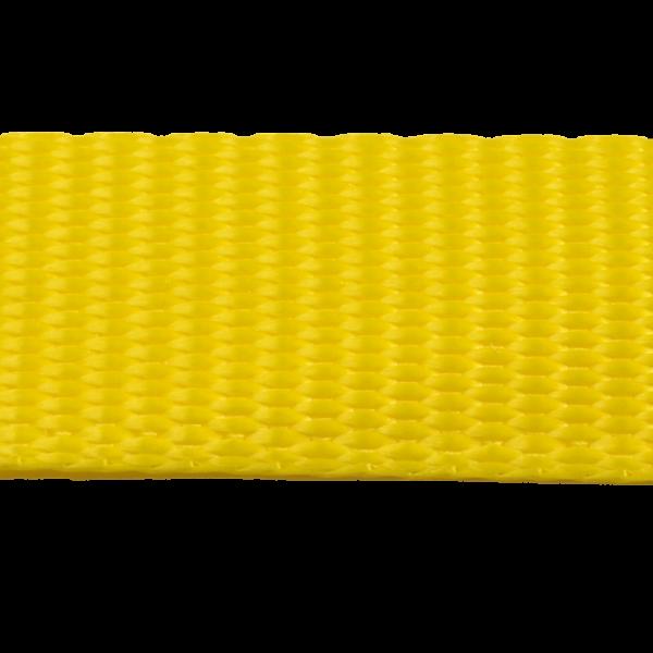 25 mm Gurtband GARTOW, goldgelb aus Polyester, geringe Dehnung < 3 %, Mindestbruchlast 1.250 daN (ca. 1.275 kg), u. a. auch sehr gut geeignet für Baumgurte zur baumschonenden Hängematten Befestigung, ebenso gut geeignet für die Anfertigung von Tierleinen (Hund, Pferd, Schwein usw.) oder Spanngurte, Pack- und Kompressionsriemen oder vieles mehr. - Made in Germany