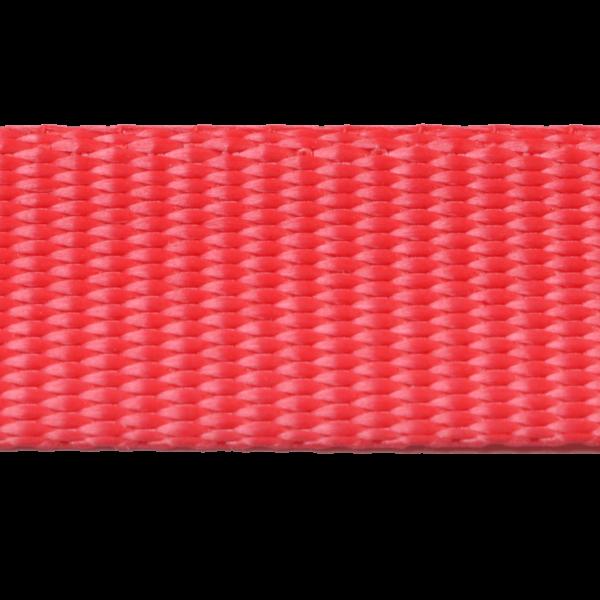 25 mm Gurtband GARTOW, hellrot aus Polyester, geringe Dehnung < 3 %, Mindestbruchlast 1.250 daN (ca. 1.275 kg), u. a. auch sehr gut geeignet für Baumgurte zur baumschonenden Hängematten Befestigung, ebenso gut geeignet für die Anfertigung von Tierleinen (Hund, Pferd, Schwein usw.) oder Spanngurte, Pack- und Kompressionsriemen oder vieles mehr. - Made in Germany