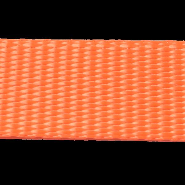 25 mm Gurtband GARTOW, orange aus Polyester, geringe Dehnung < 3 %, Mindestbruchlast 1.250 daN (ca. 1.275 kg), u. a. auch sehr gut geeignet für Baumgurte zur baumschonenden Hängematten Befestigung, ebenso gut geeignet für die Anfertigung von Tierleinen (Hund, Pferd, Schwein usw.) oder Spanngurte, Pack- und Kompressionsriemen oder vieles mehr. - Made in Germany