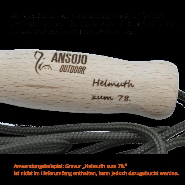 Unsere Wildbergehilfen mit ergonomisch geformten Holzgriffen sin auch mit individueller Gravur möglich