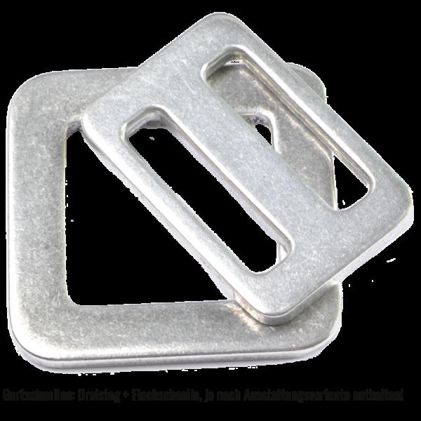 Dreisteg (Leiterschnalle) und Flachschnalle aus einer Aluminium/Titan-Legierung von unserem Baumgurt RANZAU zur Hängematten Befestigung - Made in Germany